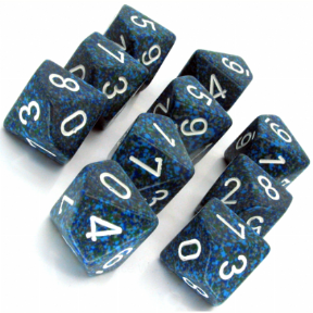 Blue & White 'Sea' Speckled D10 Ten Sided Dice Set